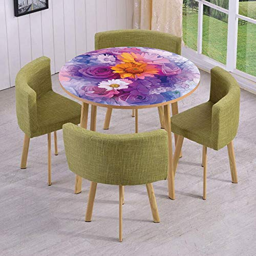 Daisy Gerbera Balloons (iPrint Round Table/Wall/Floor Decal Strikers,Removable,Bouquet of Rose Daisy and Gerbera Flowers Impressionist Style,for Living Room,Kitchens,Office Decoration)
