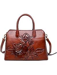Top Handle Satchel Handbag For Women Floral Purses Genuine Leather Shoulder Bag