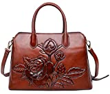 PIJUSHI Women Top Handle Handbag Satchel Floral Purses Genuine Leather Shoulder Bag 22618(One Size, New Brown)