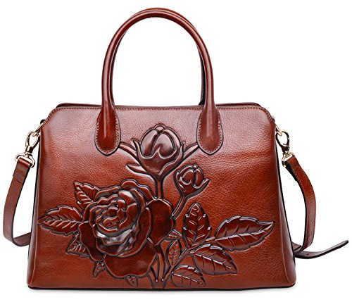 PIJUSHI Top Handle Satchel Handbag For Women Floral Purses Genuine Leather Shoulder Bag (22618, New Brown)