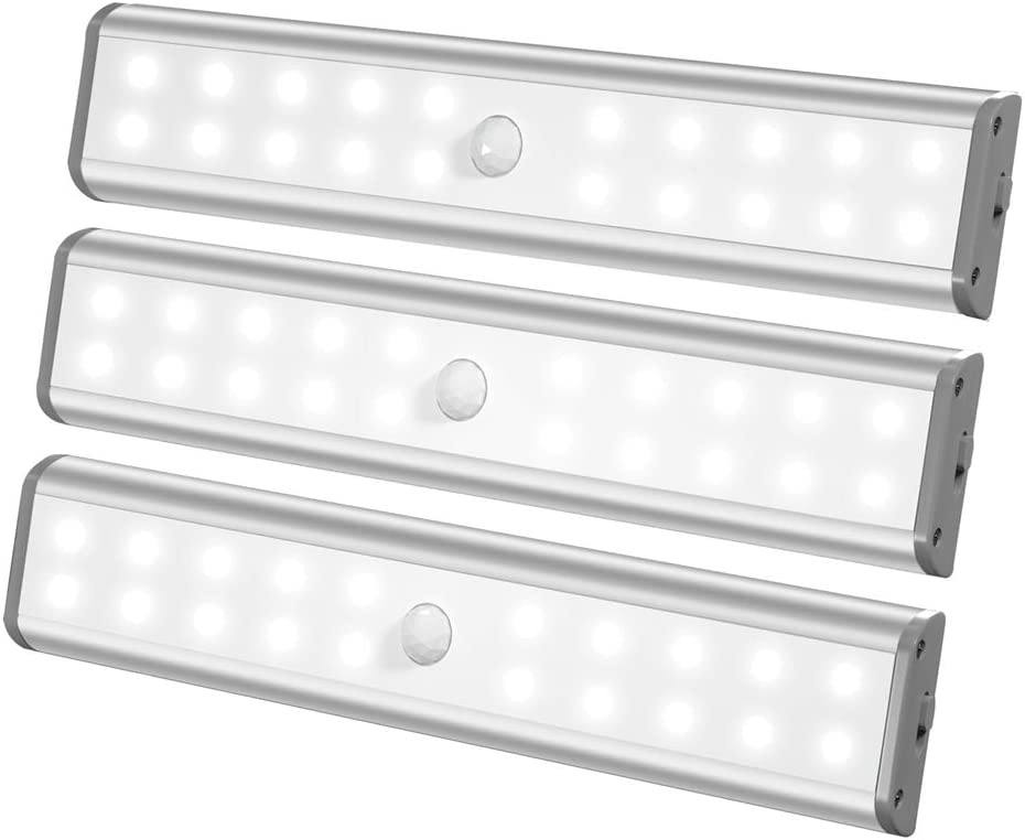 LED Closet Light Under Cabinet Light Battery Operated 20LED Rechargeable Lights Wireless Magnetic HomeLife Motion Sensor Led Light Bar for Kitchen Stair Laundry Counter-3 Packs