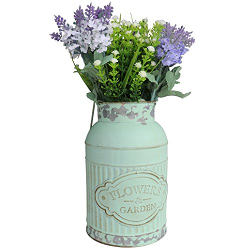 HyFanStr French Style Metal Vases for Flowers Rustic Pitcher Small Plant Garden Decor