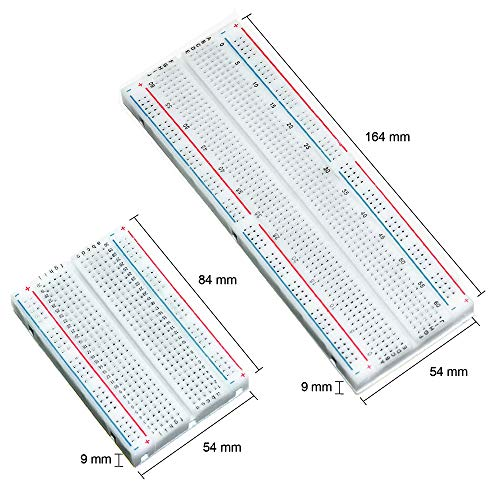 MUYI Breadboard Kit 2PCS 400 Tie Point and 2PCS 830 Points Solderless Power Rails Prototype PCB Boards for Arduino Proto Shield Distribution Connecting Blocks Jumper Wire