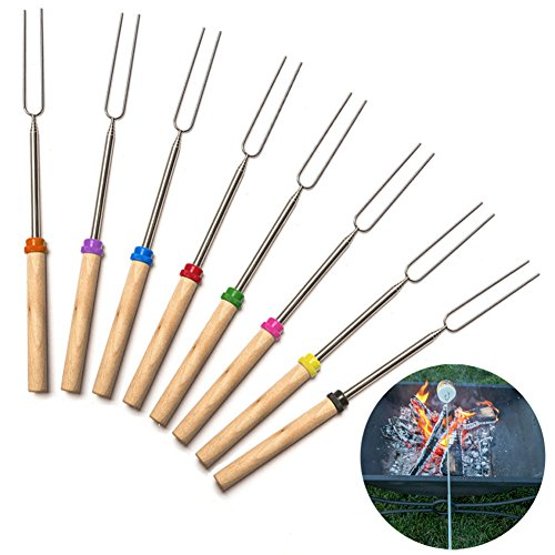 Ocamo 8-piece Barbecue Forks with Wooden Handle Stainless Steel Rotatable BBQ Fork Set Kitchen ()