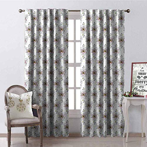 GloriaJohnson Tattoo Shading Insulated Curtain Modern Romantic Composition with Watercolor Lily Circles and Arrows Soundproof Shade W52 x L84 Inch Pale Pink Yellow Pale ()