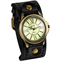 JewelryWe Fathers Day Gifts Vintage Leather Strap Wide Band Wristwatch Cuff Quartz Watch for Men - Black