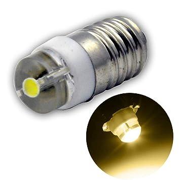 Ruiandsion E10 Bombilla LED DC 3-18V 0.5W 3000K Blanco cálido 200LM Bombilla LED para linterna antorcha Linterna antorcha, Tierra negativa (paquete de 1): ...