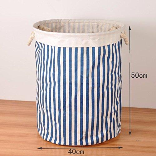 Luckyfree Basket lavanderia biancheria cotone vestiti sporchi Basket giocattoli detriti Snack cesto storage, blu di barra verticale grandi Laundry Basket Luckyfree