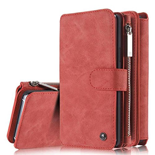 Price comparison product image For Samsung Galaxy A310 / A510 / J3 / J5 2016 / J7 2016, MNtech Leather Removable Magnetic Wallet Card Case Cover (Red, For Samsung Galaxy J7 2016)