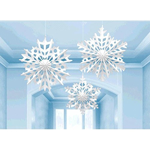 Amscan Winter Wonderland Christmas Snowflake Paper Fan Hanging Party Decoration (3 Piece), (Christmas Winter Wonderland)
