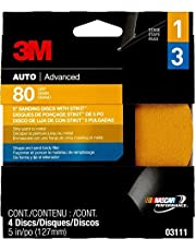 """3M 5"""" Sanding Disc with Stikit, Adhesive Backed 4 Discs, 80 Grit - Strip Paint to Metal"""