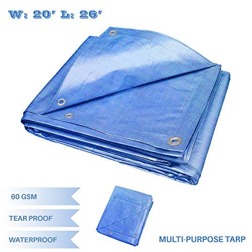 E&K Sunrise 20' x 26' Finished Size General Multi-Purpose Tarpaulin 5-mil Poly Tarp - Blue (Drop Down Pool)