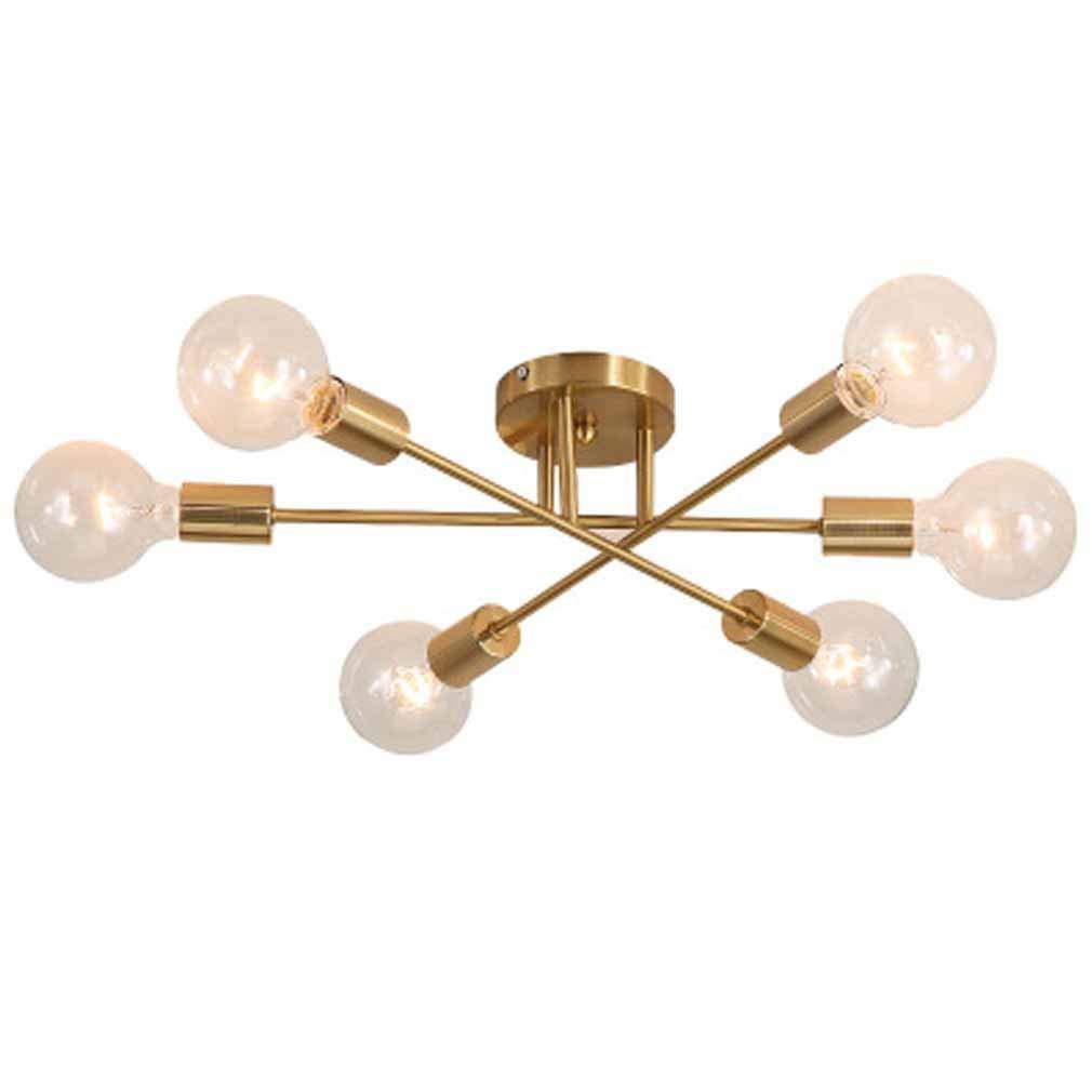 Vampsky Lampada da soffitto industriale retrò a 6 luci in ferro Lampada da soffitto nordica creativa LED Edison Lampadina Lampada da soffitto a sospensione in ferro battuto isola cucina in oro