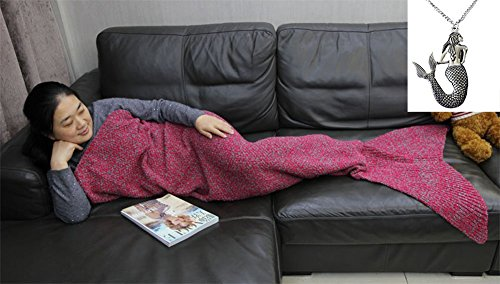 CZL Christmas Gift Knitted Mermaid Tail Blankets for Adults Teens Sleeping Bags Crochet Blanket Super Soft Sleeping Blankets (Top Anime For Adults)