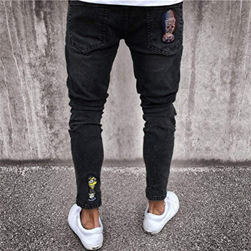 nero Casual Estilo Da Vintage Nero Jeans Con Slim Hop Chiusura Especial Streetwear Fit Denim Uomo Pantaloni Strappati Hip wSx4xqapg