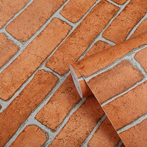 (Brick Peel and Stick Wallpaper Self Adhesive Removable Contact Paper Textured Brick Looking Wall Decals Decorations Roll for Bar Restaurant Fireplace Bedroom Kitchen 17.8