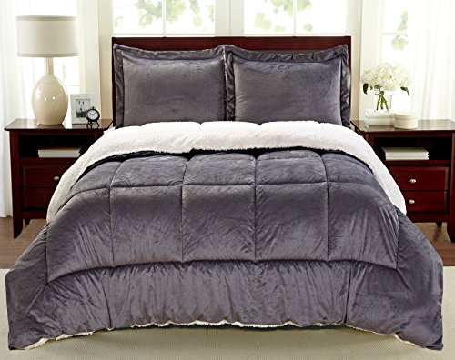 Cathay Home Fashions Reversible Faux Fur and Sherpa 2 Piece Comforter Set, Twin, Pewter