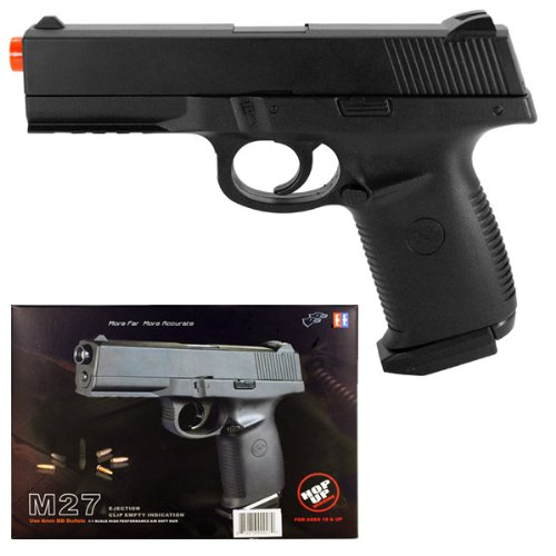 (m27 spring airsoft black handgun gun 1 1 scale w/ bb's(Airsoft Gun))
