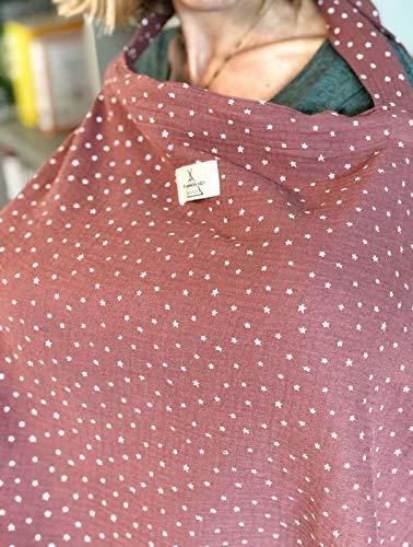 Para dar el pecho con intimidad Manta Pa/ñuelo cubre lactancia en tela muselina//b/ámbula color budeos con estrellas blancas