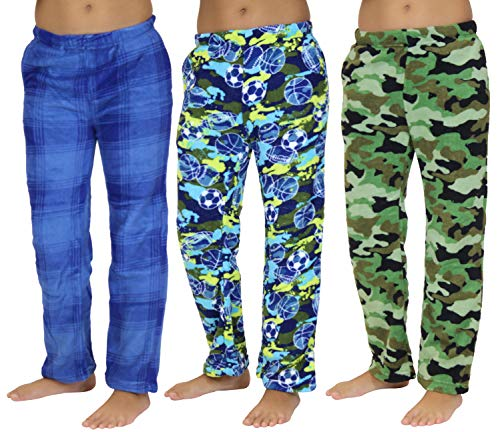 Real Essentials Fleece Plush PJ Pajama Bottoms/Pants Sleepwear Lounge for Boys - Pack of 3 -ST 1- Size 8/10 -