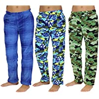 Real Essentials 3 Pack: Fleece Pajama Pants/Bottoms for Boys - Packs of 3 Assorted Designs and Sizes