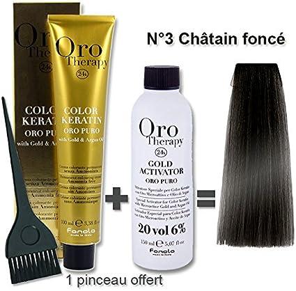 Oro Therapy Lote de coloración para el cabello (tinte de 100 ml + oxidante de 20 volúmenes de 150 ml), color castaño (n.º 3)