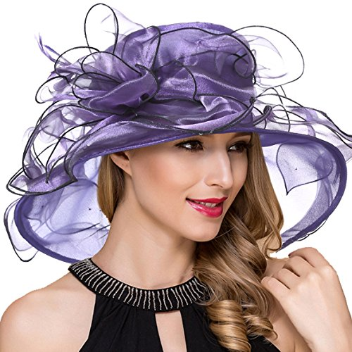 Women Organza Kentucky Derby Church Dress Fascinator Wide Brim Wedding Tea Party Hats (Purple)
