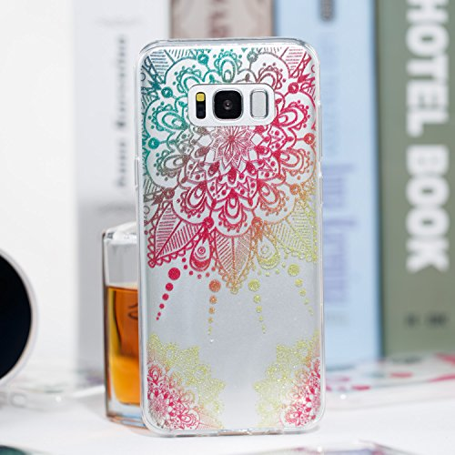 Samsung S8 Plus Funda, Galaxy S8 Plus TPU Case Cover, NEWSTARS Lujo Bling Bling Glamour Brillante Glitter Flamenco Unicornio Mariposa Flor Diseño Funda Carcasa Ultra Delgado Resistente a los Arañazos  B Glitter TPU 5