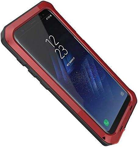 Coque en aluminium pour Samsung Galaxy S8 - Très résistante - Style militaire - Résistante aux chocs, à la poussière, à la neige - Rouge