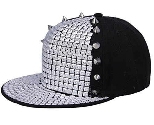 plano de Spikes Roca sombrero Hombres Plata COMVIP A remache hip del Punk béisbol hop Sombrero wYCqg