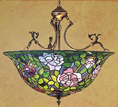 24 Inch W Tiffany Rosebush Inverted Pendant Ceiling Fixture , Meyda , Ceiling, Lighting