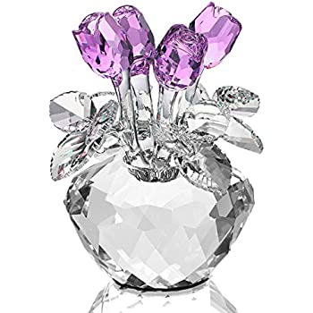 H&D Purple Crystal Rose Bouquet Flowers Figurines Ornament with Gift Box