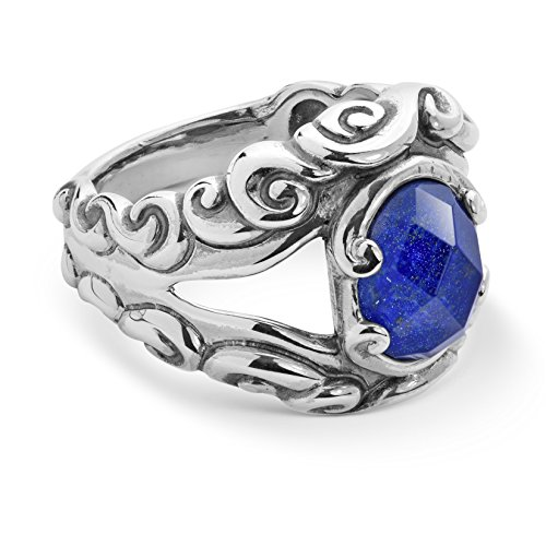 Carolyn Pollack Sterling Silver Turquoise, Blue Lapis, Mother of Pearl or Red Coral Gemstone Choice of 4 Colors Split Band Ring Size 5 to 10