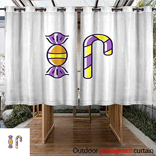 (RenteriaDecor Outdoor Curtains for Patio Sheer Halloween Treats Candy Icons Colorful Flat Halloween Candies Symbols Thin line Art Design Vector Illustration W108 x)