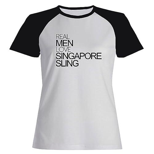 Idakoos Real men love Singapore Sling – Bevande – Maglietta Raglan Donna