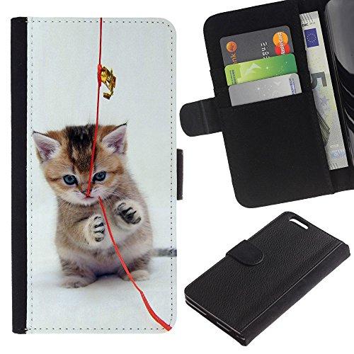 EuroCase - Apple Iphone 6 PLUS 5.5 - Cute Cat Kitten - Cuir PU Coverture Shell Armure Coque Coq Cas Etui Housse Case Cover