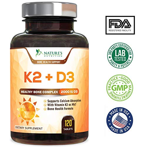 Amazon.com: Vitamin K2 (MK7) with D3 Supplement - Vitamin D & K Complex for Calcium Absorption - Healthy Bone, Heart and Teeth Formula - MK-7, ...