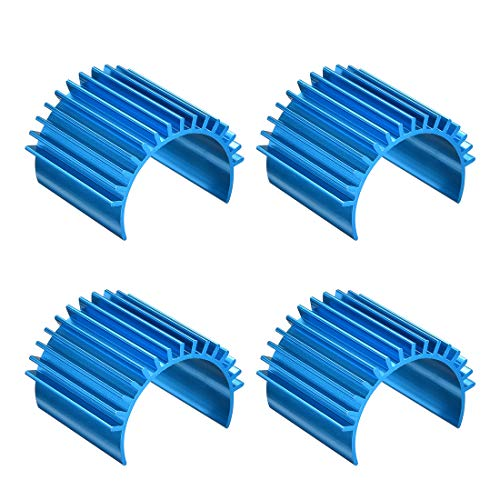 uxcell 4 Pcs Aluminum Electric Engine Motor Heatsink Fins Cooling Blue For RC 380 390 Size Brushed Brushless RC Car Accessories