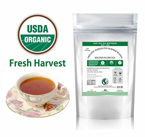 Organic Darjeeling Tea Leaves (125 CUPS), Peak Summer Harvest, Muscatel- Sweet Spicy Notes,100% Pure Unblended Darjeeling Single Estate Tea from Himalayas 8.8 Oz, Certified USDA Organic ()