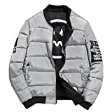 Amoystyle Men's Winter Fashion Reversible Bomber Jacket Gray Asian XL