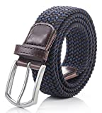 Weifert Men's Stretch Woven 1.3''Wide Elastic Braided Belts (28-33, Coffee+Blue)
