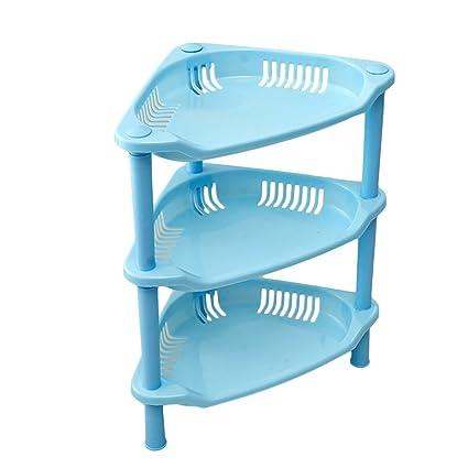 Topshop 3 Tier Plastic Corner Shelf Organizer Bathroom Kitchen Storage Rack  Holder (Blue)