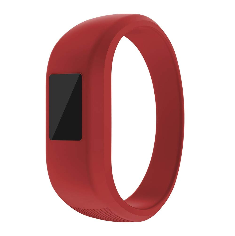 Huangou for Garmin Vivofit Jr Watch Wrist Straps,Accessory Replacement Sport Soft Silicone Wirstband Replacement Strap for Garmin Vivofit Jr Watch (Large, Red)