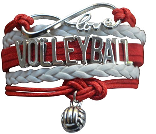 Volleyball Charm Bracelet - Infinity Love Adjustable Charm Bracelet with Volleyball Charm for Female Volleyball Player