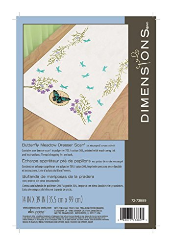 Scarf Dresser Butterflies (Dimensions 72-73889 Butterfly Meadow Dresser Scarf, Stamped Cross Stich)