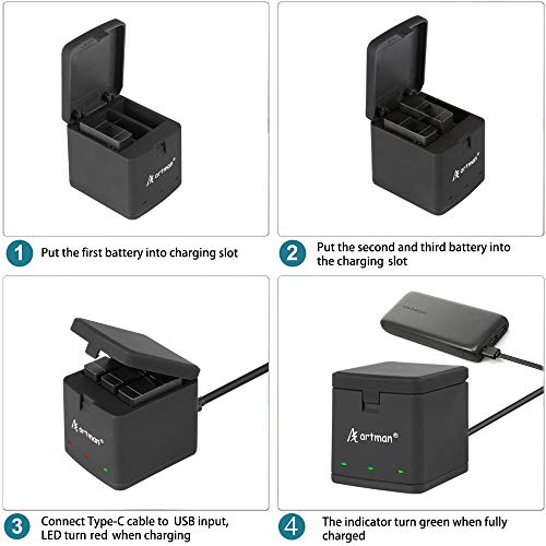 Artman-Hero-876-1500mAh-Replacement-Batteries3-Pack-and-3-Channel-LED-USB-Storage-Charger-Compatible-with-GoPro-Hero-8-BlackGoPro-Hero-7-BlackHero-6-BlackFully-Compatible-with-Original