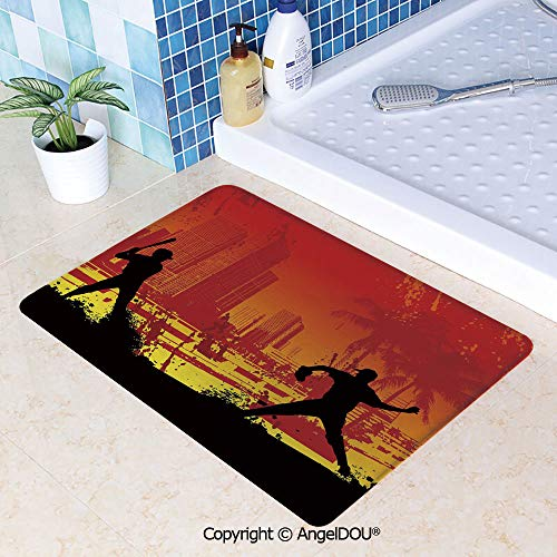 - SCOXIXI Absorbent Super Cozy Rectangle Kitchen Bathroom Carpet Men Playing Baseball in Town City Park Tall Buildings Urban Scenery Decorative Washable Porch Floor Mat Carpet.W23.6xL35.4(inch)
