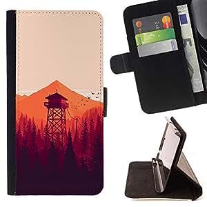 BullDog Case - FOR/Samsung Galaxy Note 4 IV / - / MINIMALIST ORANGE FORREST /- Monedero de cuero de la PU Llevar cubierta de la caja con el ID Credit Card Slots Flip funda de cuer