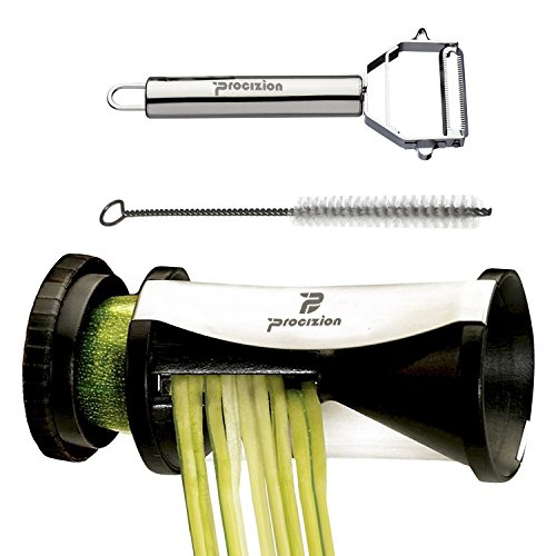 Procizion Spiral Slicer Complete Bundle Vegetable Spiralizer Cutter to Create Zucchini Pasta, Noodles and Garnishes Spaghetti Maker Includes Peeler and Cleaning Brush