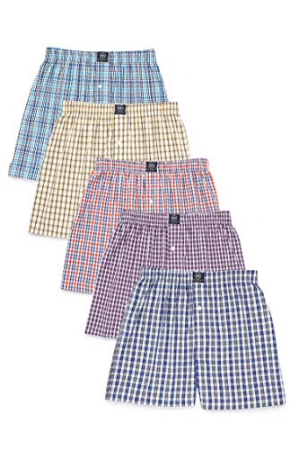 Badger Smith Men's 5 - Pack 100% Cotton Checks Multicolor Boxer Shorts Extra Large